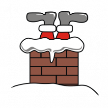 T-shirt Santa in chimney-I07