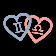 T-shirt Hearts-Gemini, Libra-S56